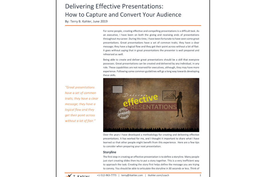 Developing Effective Presentations