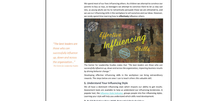 Influencing Skills Article in PDF