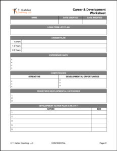 T-Kahler Coaching - Planning Worksheet