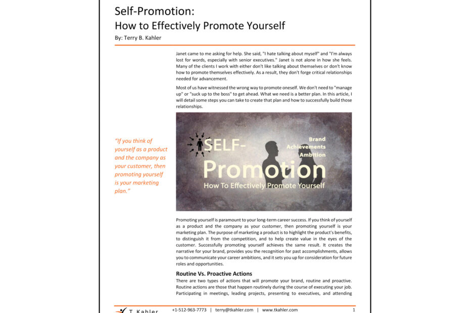 The Art of Effective Self-Promotion