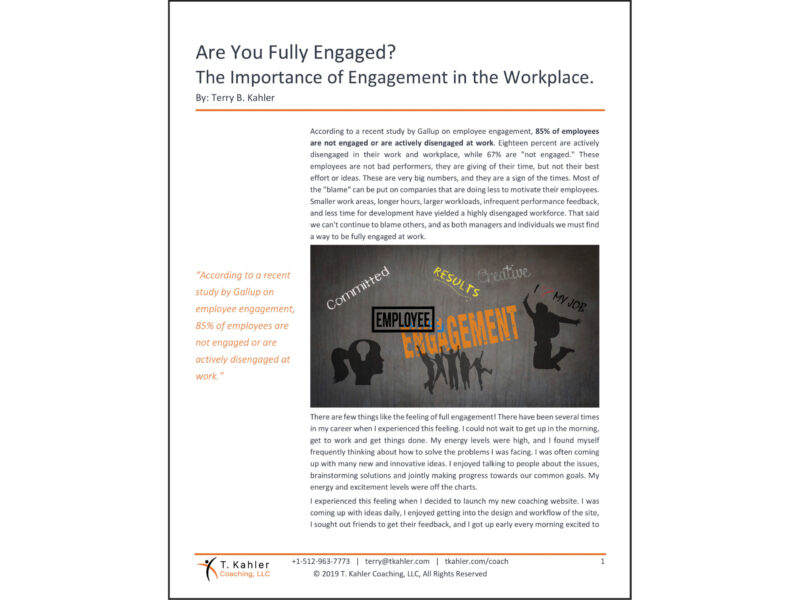 Are You Fully Engaged Article in PDF