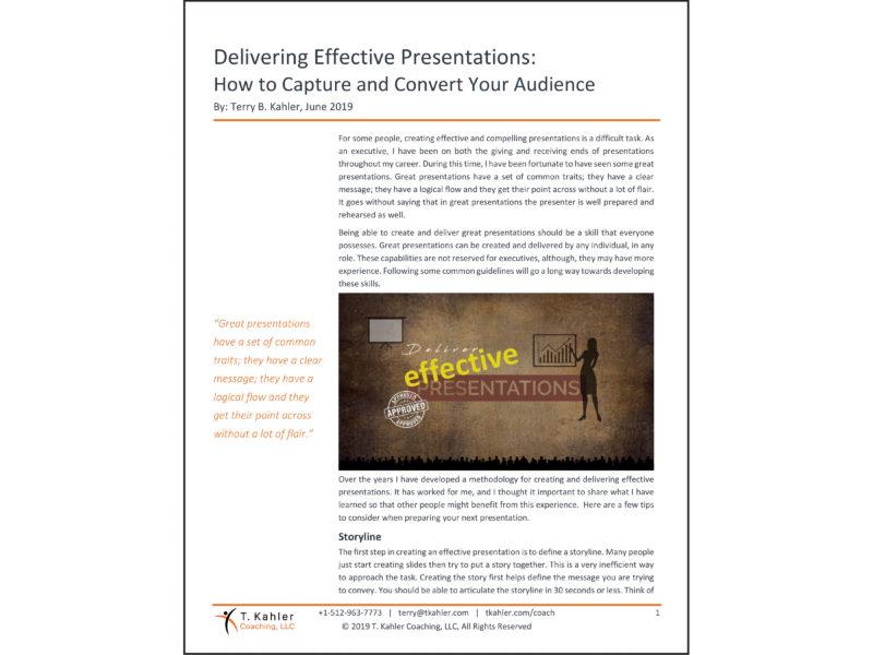 Delivering Effective Presentations Article in PDF