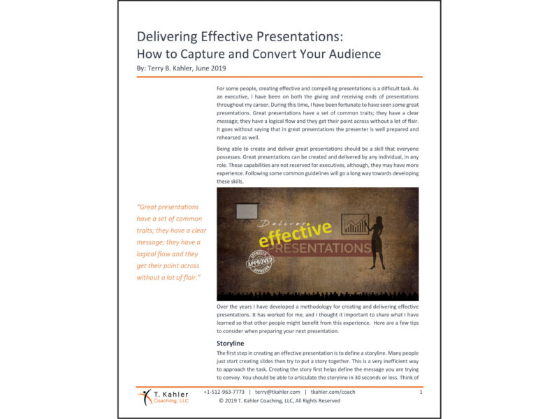 Delivering Effective Presentations Article in PDF