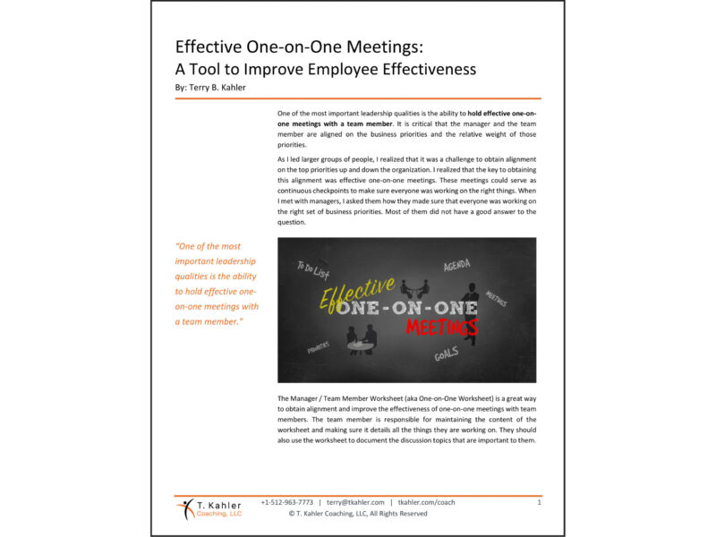 Effective One-On-One Meetings Article in PDF