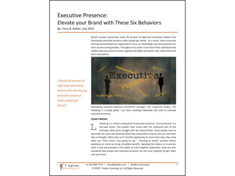 Executive Presence Article in PDF