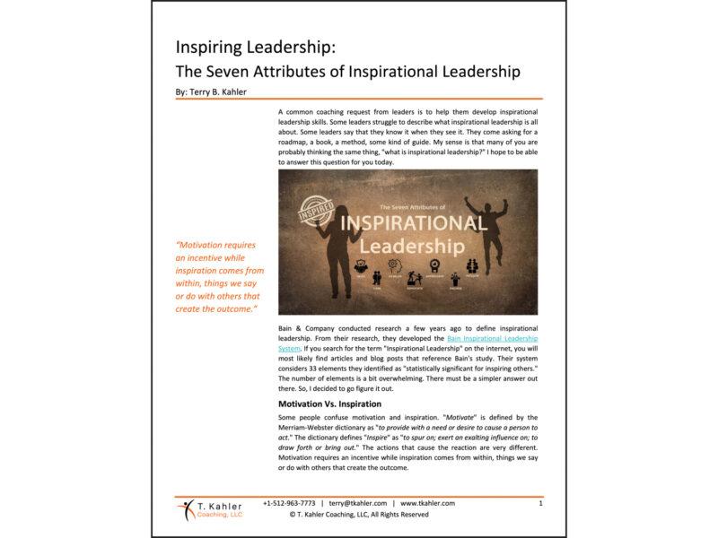 Inspirational Leadership Article in PDF