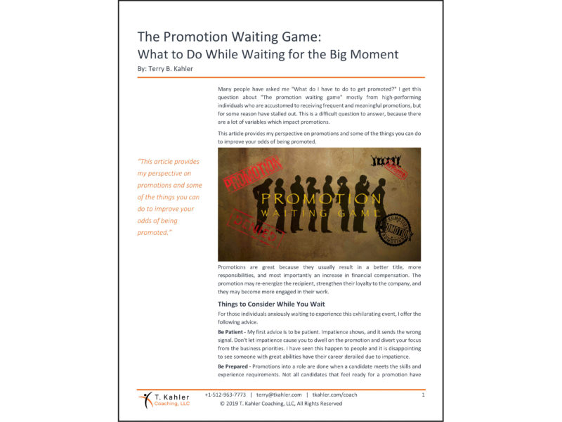 The Promotion Waiting Game Article in PDF