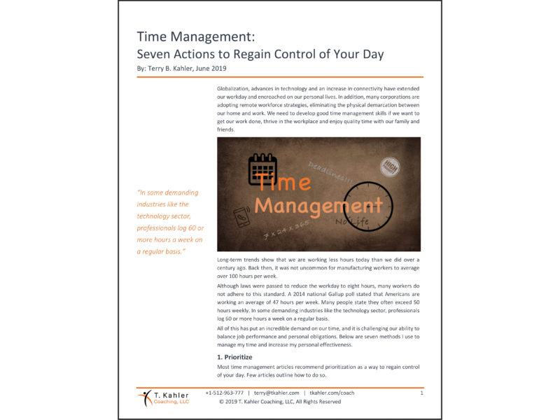 Time Management Article in PDF